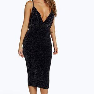 Metallic Wrap Front Midi Dress